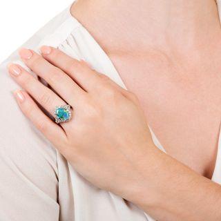 Estate 2.52 Carat Black Opal and Diamond Ring