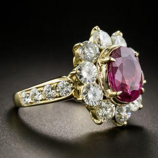 Estate 2.56 Carat Thai Ruby and Diamond Halo Ring - GIA