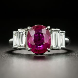 Estate 2.58 Carat Burmese Ruby and Diamond Ring - GIA - 1
