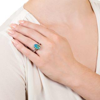Estate 2.73 Carat Black Opal and Diamond Ring