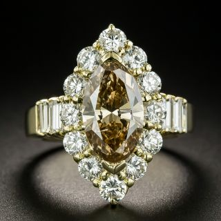 Estate 2.75 Carat Fancy Yellow-Brown Marquise-CutDiamond Engagement Ring - GIA - 1