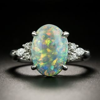 Estate 2.78 Black Opal Cabochon and Diamond Ring  - 1