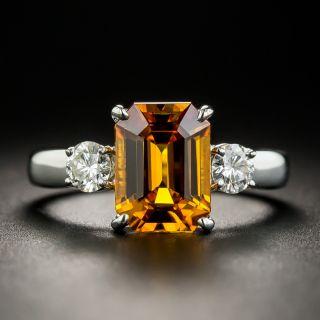 Estate 2.85 Carat Orange Ceylon Sapphire and Diamond Ring - GIA - 1
