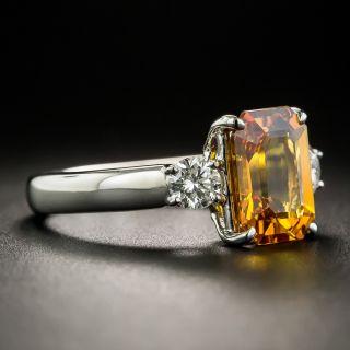 Estate 2.85 Carat Orange Ceylon Sapphire and Diamond Ring - GIA