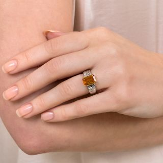 Estate 2.86 Golden Emerald-Cut Sapphire and Diamond Ring