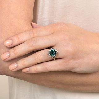 Estate 2.87 Blue Green Tourmaline and Baguette Diamond Ring