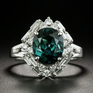 Estate 2.87 Blue Green Tourmaline and Baguette Diamond Ring - 2