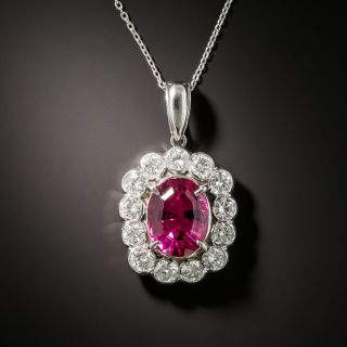 Estate 2.88 Carat Pink Tourmaline and Diamond Halo Pendant - 3