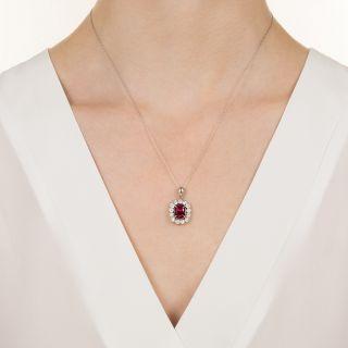 Estate 2.88 Carat Pink Tourmaline and Diamond Halo Pendant