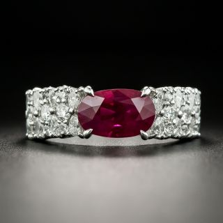 Estate 2.90 Carat Burmese Ruby and Diamond Ring - GIA - 1