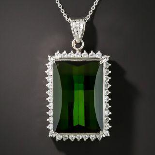 Estate 20.41 Carat Tourmaline and Diamond Pendant