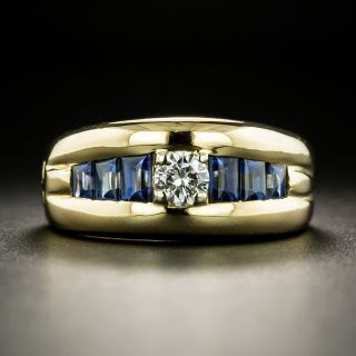 Estate .21 Carat Diamond and Buff-Top Sapphire Ring - 1