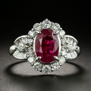 Estate 3.00 Carat Burmese Ruby and Diamond Ring - GIA - 1