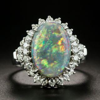 Estate 3.12 Carat Black Opal and Diamond Ring - 1
