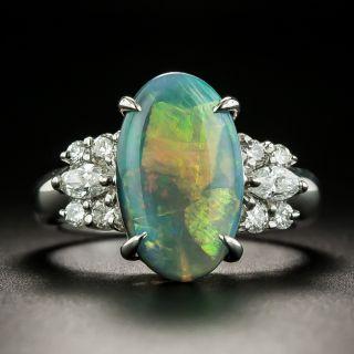 Estate 3.30 Carat Black Opal and Diamond Ring  - 1