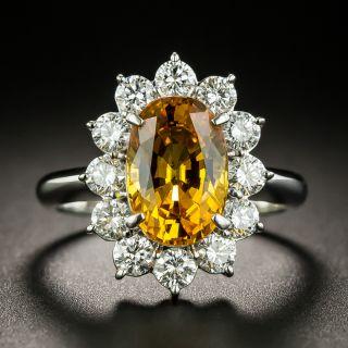 Estate 3.30 Carat Orange Sapphire and Diamond  Halo Ring - GIA - 1