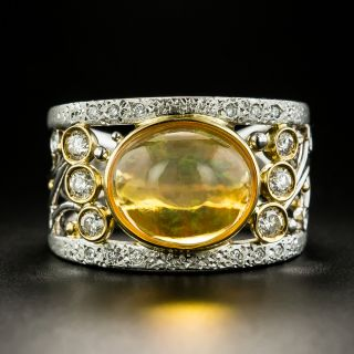 Estate 3.31 Carat Mexican Opal and Diamond Band Ring - 1