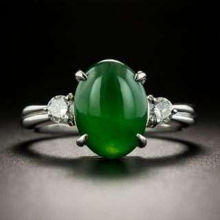 Estate 3.43 Carat Fine Natural Jade and Diamond Ring - 1