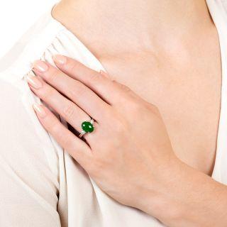 Estate 3.43 Carat Fine Natural Jade and Diamond Ring