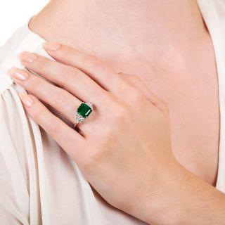 Estate 3.50 Carat Emerald Diamond Platinum Ring