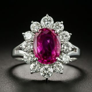 Estate 3.61 Carat No-Heat Ruby and Diamond Ring - 1