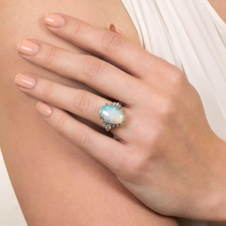 Estate 3.81 Carat Opal and Diamond Ring