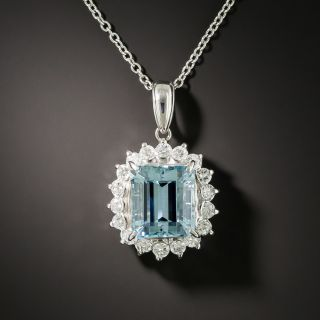 Estate 3.85 Carat Aquamarine and Diamond Halo Pendant - 2