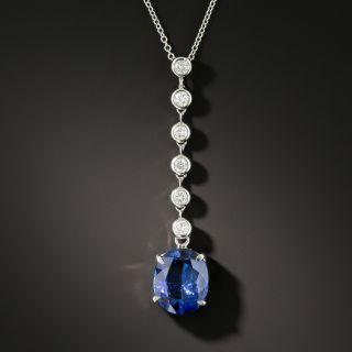 Estate 3.88 Carat No-Heat Sapphire and Diamond Necklace - 2