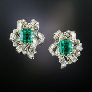 Estate 3.89 Carat Emerald and Diamond Earrings - AGL 'Minor Enhancement' - 3