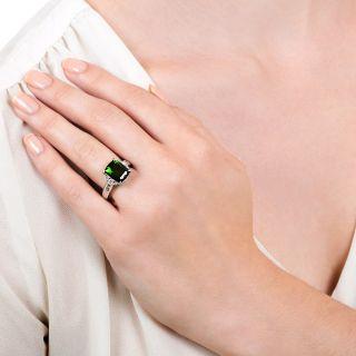 Estate 3.98 Carat Green Tourmaline and Diamond Ring