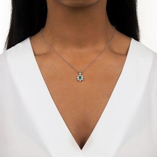Estate .31 Carat Emerald and Diamond Pendant