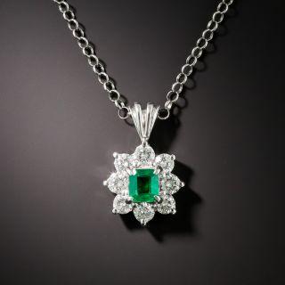 Estate .31 Carat Emerald and Diamond Pendant - 1