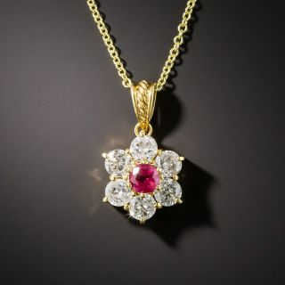 Estate .35 Pink Sapphire Diamond Drop - 1