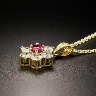 Estate .35 Pink Sapphire Diamond Drop