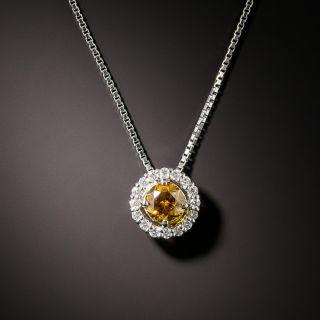 Estate .36 Carat Orangish-Brown Diamond Halo Pendant - 3
