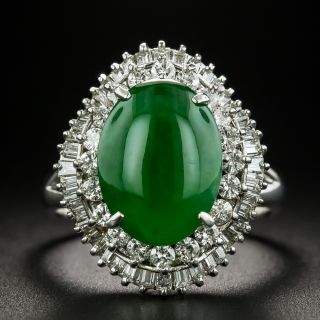 Estate 4.02 Carat Natural Burmese Jade and Diamond Ring - 1