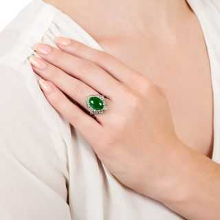 Estate 4.02 Carat Natural Burmese Jade and Diamond Ring