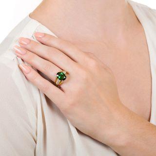 Estate 4.12 Carat Green Tourmaline and Diamond Ring