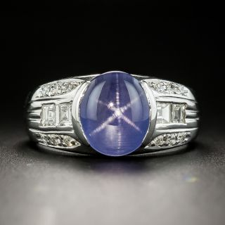Estate 4.26 Carat Violet-Blue Star Sapphire and Diamond Ring - 2