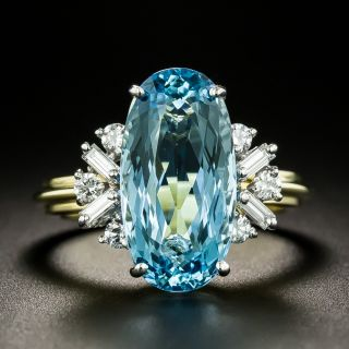 Estate 4.30 Carat Oval Aquamarine and Diamond Ring - 3