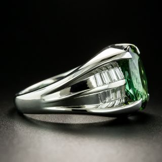Estate 4.35 Carat Green Tourmaline and Diamond Ring
