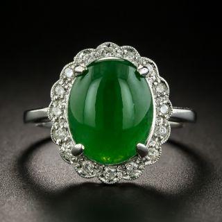 Estate 4.63 Carat Burmese Jade and Diamond Ring - 1