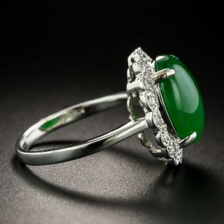 Estate 4.63 Carat Burmese Jade and Diamond Ring
