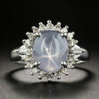 Estate 4.69 Carat Star Sapphire and Diamond Halo Ring - 2