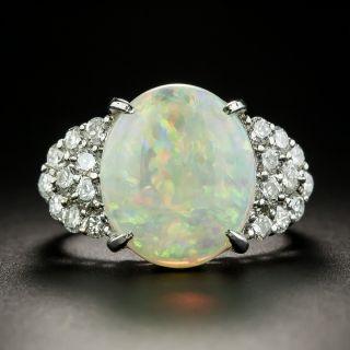 Estate 4.71 Carat Opal Cabochon and Diamond Ring  - 1