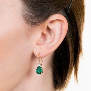 Estate 4.80 Carat Oval Emerald and Diamond Earrings