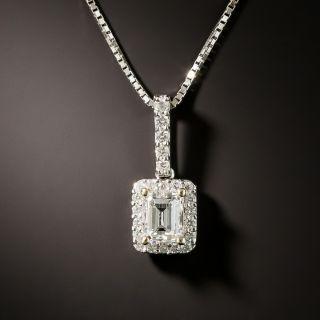 Estate .45 Carat Emerald-Cut Diamond Halo Pendant  - 2