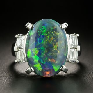 Estate 5.03 Carat Black Opal and Diamond Ring - 1