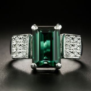 Estate 5.04 Carat Green Tourmaline and Diamond Ring - 1