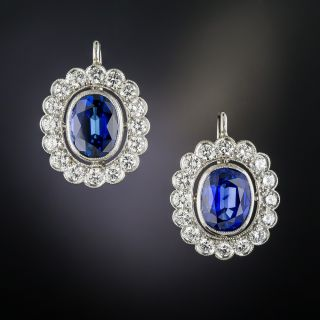 Estate 5.32 Carats Sapphire Platinum Diamond Earrings - 2